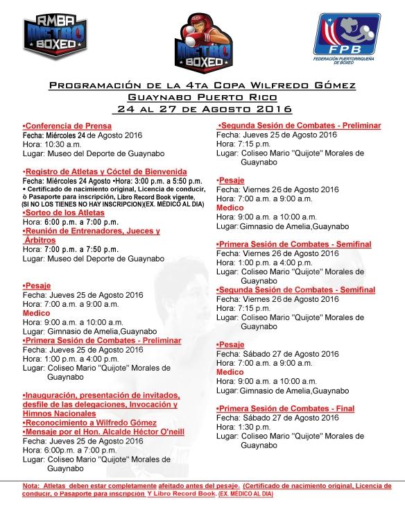 Programa de la 4ta Copa Wilfredo Gómez copy