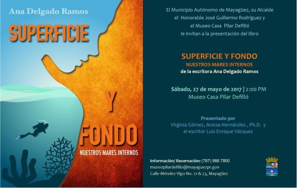 Invitación Presentación del libro Superficie y Fondo de la escritora Ana Delgado.jpg